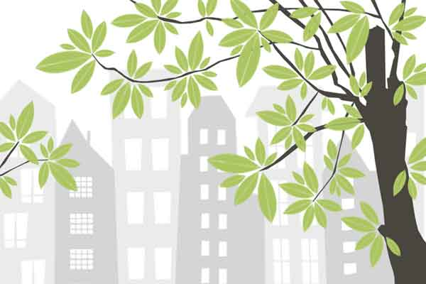 illustration with green tree and city skyline in the background