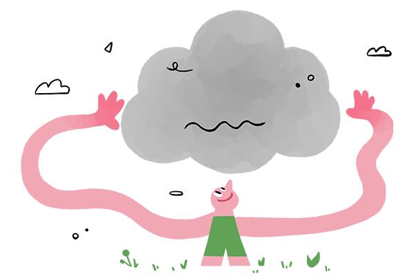 Bild Männchen das versucht Kohlenstoffwolke in Atmosphäre zu greifen